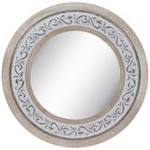 Whitewash Scroll Wood Wall Mirror