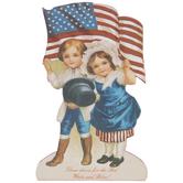 Couple With Flag Wood Decor