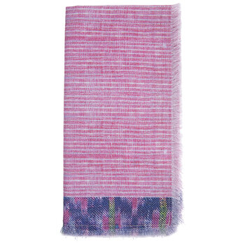 Pink Striped Fringe Cloth Napkin