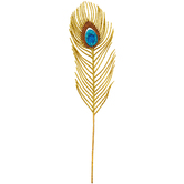 Gold Glitter Peacock Feather Pick