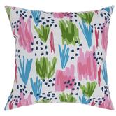Pink, Green & Blue Abstract Pillow