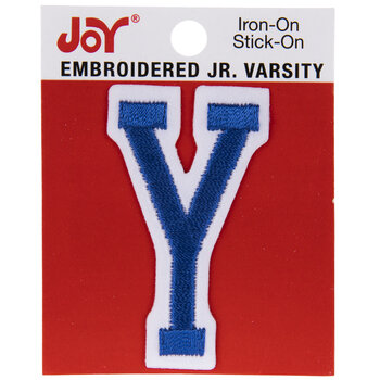Blue Junior Varsity Letter Iron-On Applique Y - 2""
