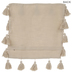 Beige Woven Pillow Cover With Pom Poms