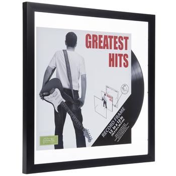 "Black Wood Vinyl Record Album Wall Frame - 12"" x 12"""