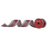 """Gray & Buffalo Check Wired Edge Ribbon - 2 1/2"""""""