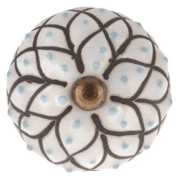 White Flower Dot Knob