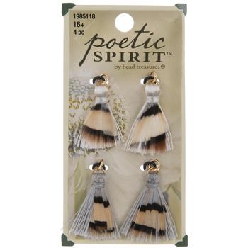 Gray & White Feather Tassel Pendants