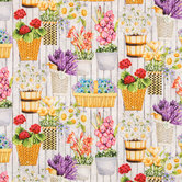 Wall Of Flowers Cotton Calico Fabric