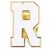 White Letter Metal Pin - R