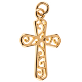 Scroll Cross Charm
