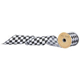 "Black & White Harlequin Wired Edge Ribbon - 3"""