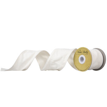 "Cream Canvas Wired Edge Ribbon - 2 1/2"""