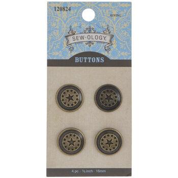Antique Gold Star Shank Buttons - 16mm
