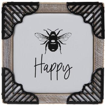 Happy Bee Wood Wall Decor