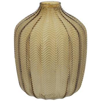 Yellow Ridged Chevron Glass Vase - Small