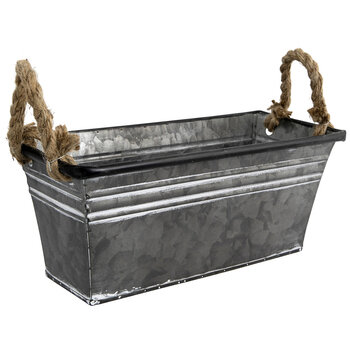 Rectangle Metal Container With Rope Handles