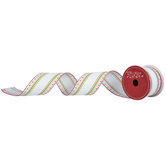 White, Red & Green Striped Edge Wired Edge Ribbon