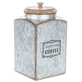Country Farm Coffee Galvanized Metal Canister