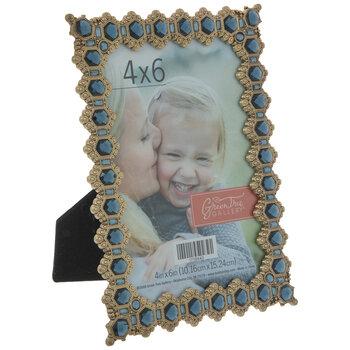 "Antique Gold & Blue Deco Rhinestone Metal Frame - 4"" x 6"""