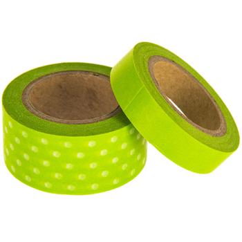 Lime Solid & Polka Dot Washi Tape