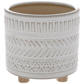 White Geometric Pot