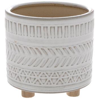 White Geometric Pot