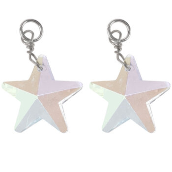 Crystal AB Glass Star Charms