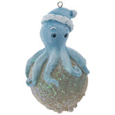 Octopus With Santa Hat Ornament