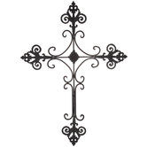 Brushed Fleur-De-Lis Metal Wall Cross