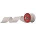 Cream & Red Frayed Wired Edge Mesh Ribbon - 2 1/2