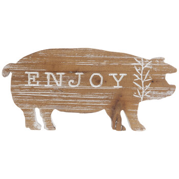 Whitewash Enjoy Wood Pig