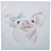 Piglet Wearing Bow Canvas Wall Decor