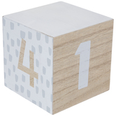 White Numbers Wood Block