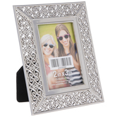 "Silver Ornate Scroll Metal Frame - 2"" x 3"""