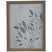 Blue Gray Leaves Wood Wall Decor