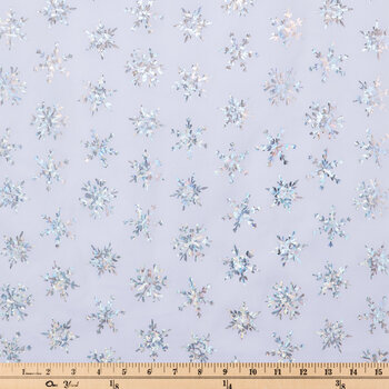 Holographic Snowflakes Cotton Fabric
