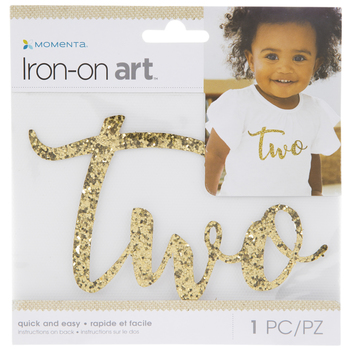 Gold Glitter Two Iron-On Applique