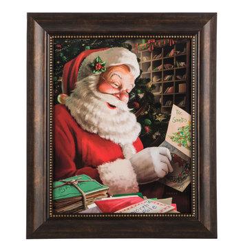 Santa Reading Letters Wood Wall Decor