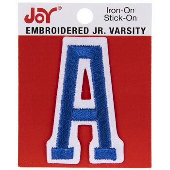 "Blue Junior Varsity Letter Iron-On Applique A - 2"""