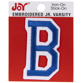 "Blue Junior Varsity Letter Iron-On Applique B - 2"""