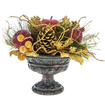 Pinecone & Fruit In Pedestal Pot