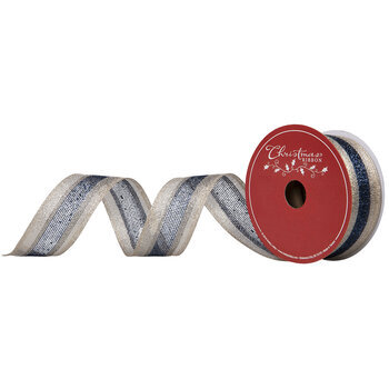 """Gold & Navy Striped Wired Edge Mesh Ribbon - 1 1/2"""""""