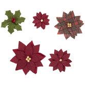 Poinsettia & Holly Embellishments