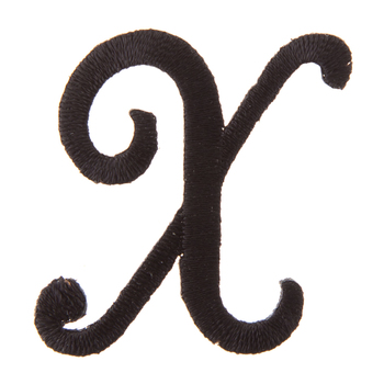 Black Letter Iron-On Applique - X