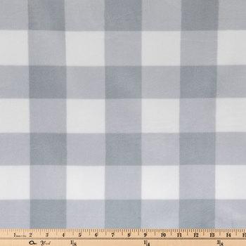 Gray & White Buffalo Check Minky Plush Fabric