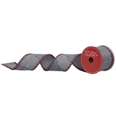 "Gray & Red Stitch Wired Edge Ribbon - 2 1/2"""