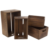 Brown Vintage Style Crate Set