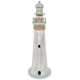 White & Blue Wood Lighthouse
