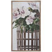 Pink Flowers In Basket Canvas Wall Decor