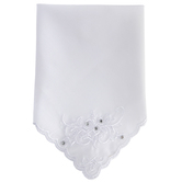White Floral Embroidered Hankie